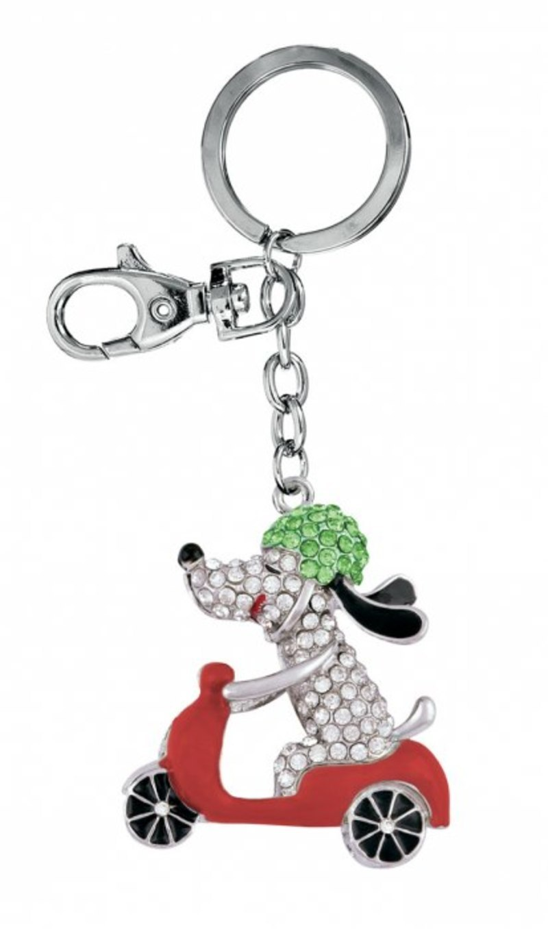 KEY CHAIN DOG green/white/red - NO BOX