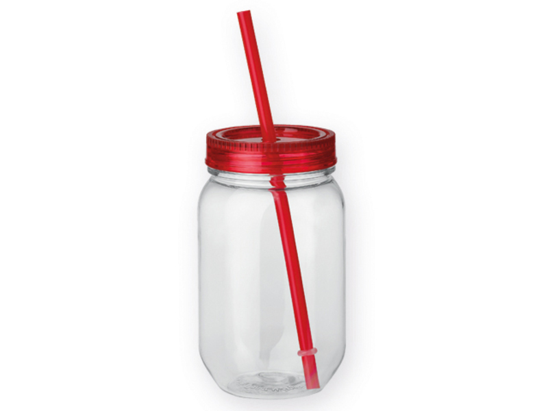 STRAW plastic bottle with straw, 550 ml, Red