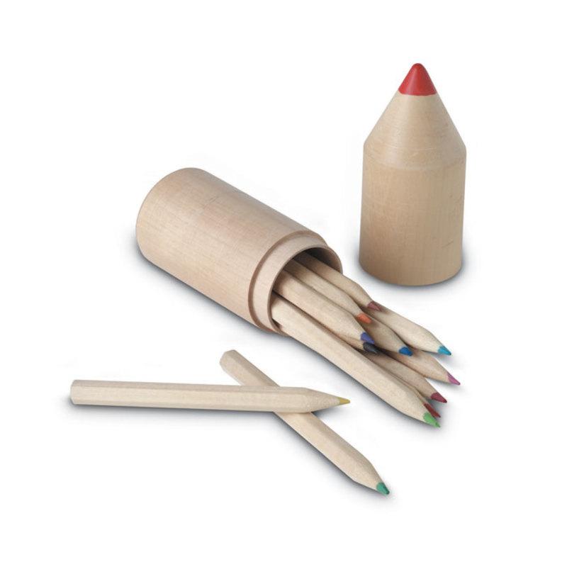 12 pencils in wooden box