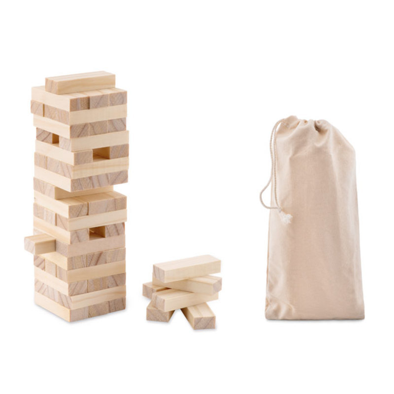 Tower game in cotton pouch