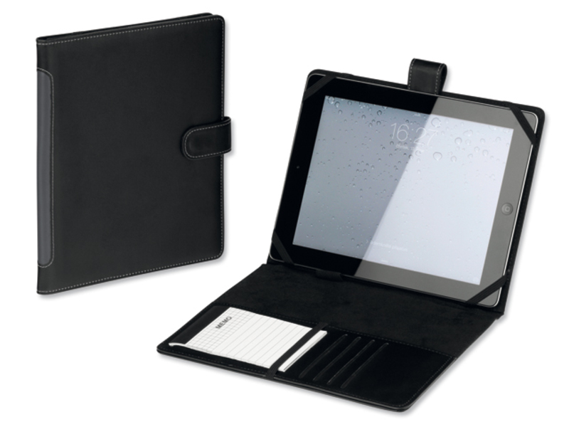 TABLETO iPad sleeve from leather imitation with notepad, Black
