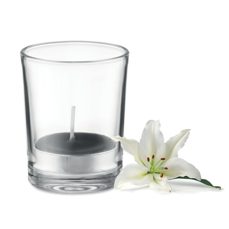 Transparent glass holder candle