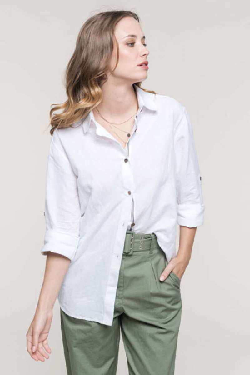 LADIES' LONG SLEEVE LINEN AND COTTON SHIRT
