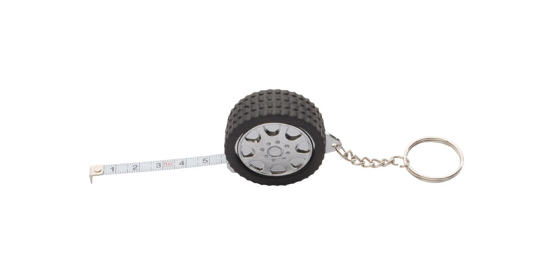 Wheel keyring with tape measure