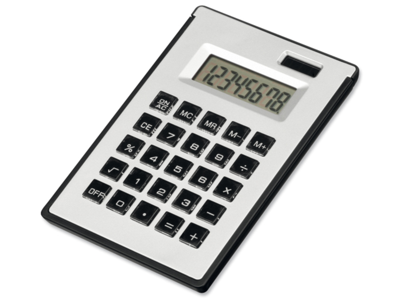 ZIGGY dual calculator with 8 dial display, sticky notes and ball pen, Satin silver