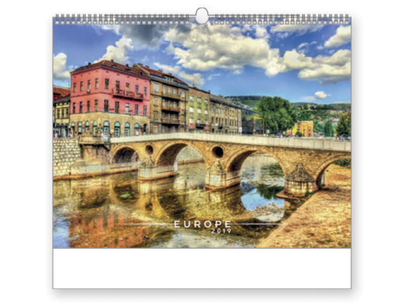 EUROPE wall calendar, 44x34 cm