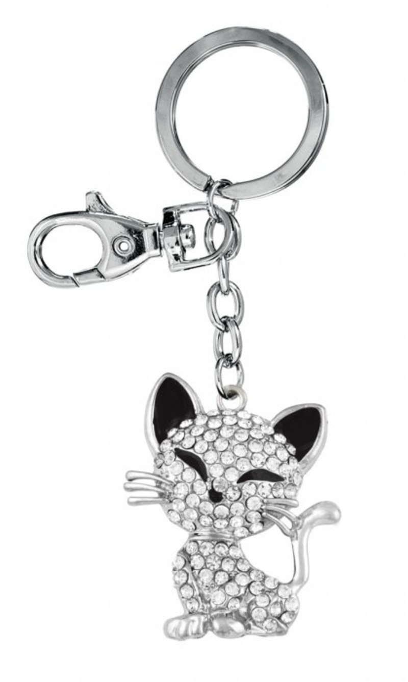 KEY CHAIN CAT WITH STRASS - NO BOX
