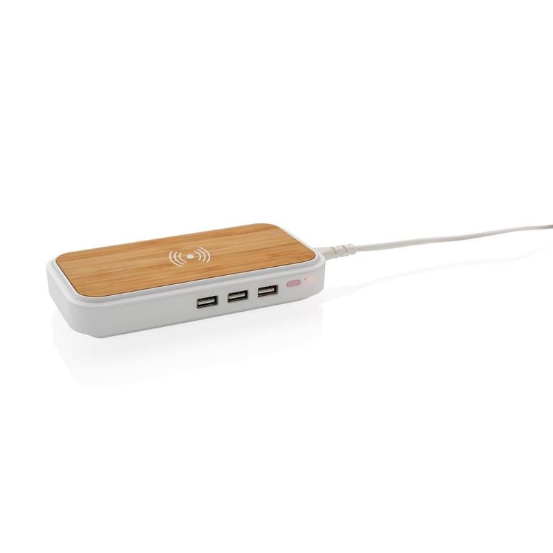 Bamboo 5W wireless charger with 3 USB ports