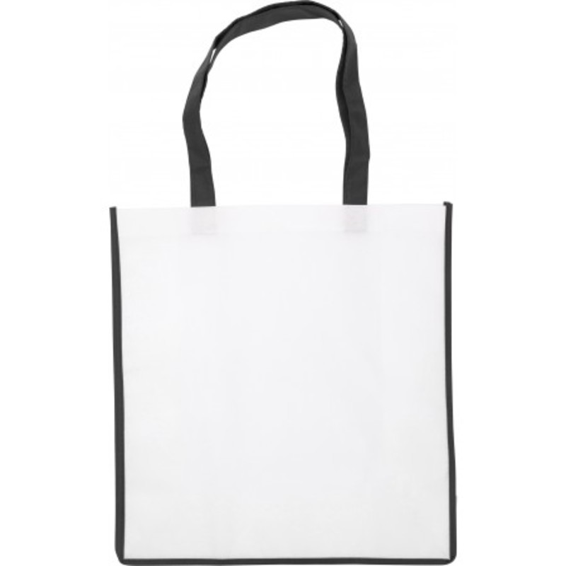 Nonwoven bag with coloured trim.