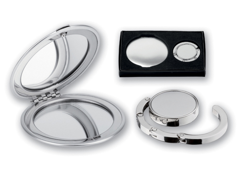 LADY SET gift set containing a mirror and a magnetic bag holder, Satin silver