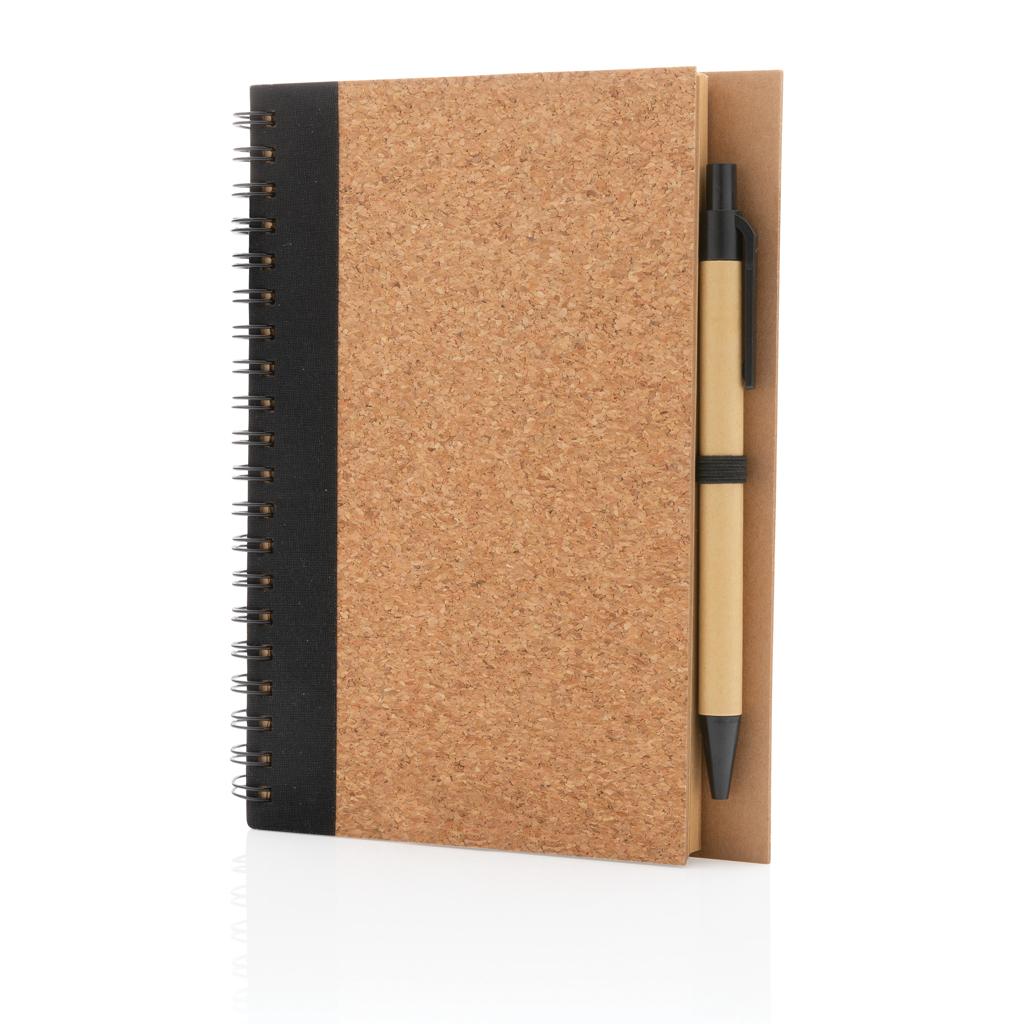 Cork spiral notebook with pen